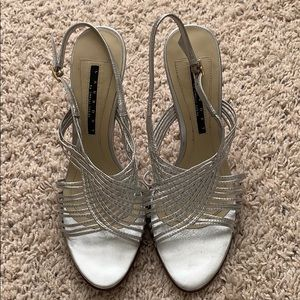 Women's Silver heeled Sandals, Size 8